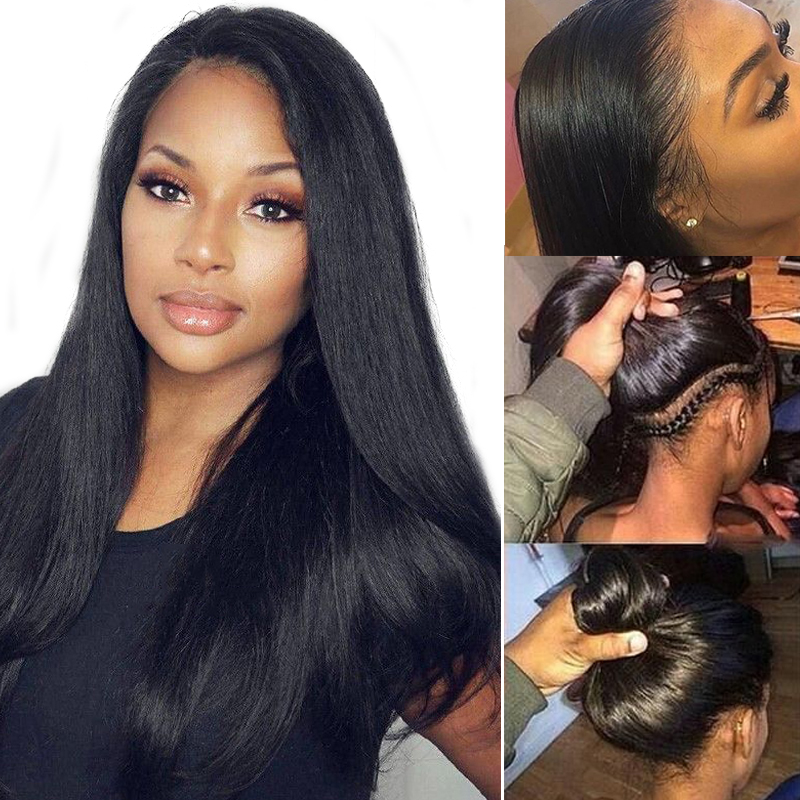 Indian Lace Front Human Hair Wigs Pre plucked Natural Color Straight Lace Front Wig With Baby Hair Remy 13*4 13*6 Lace Wigs