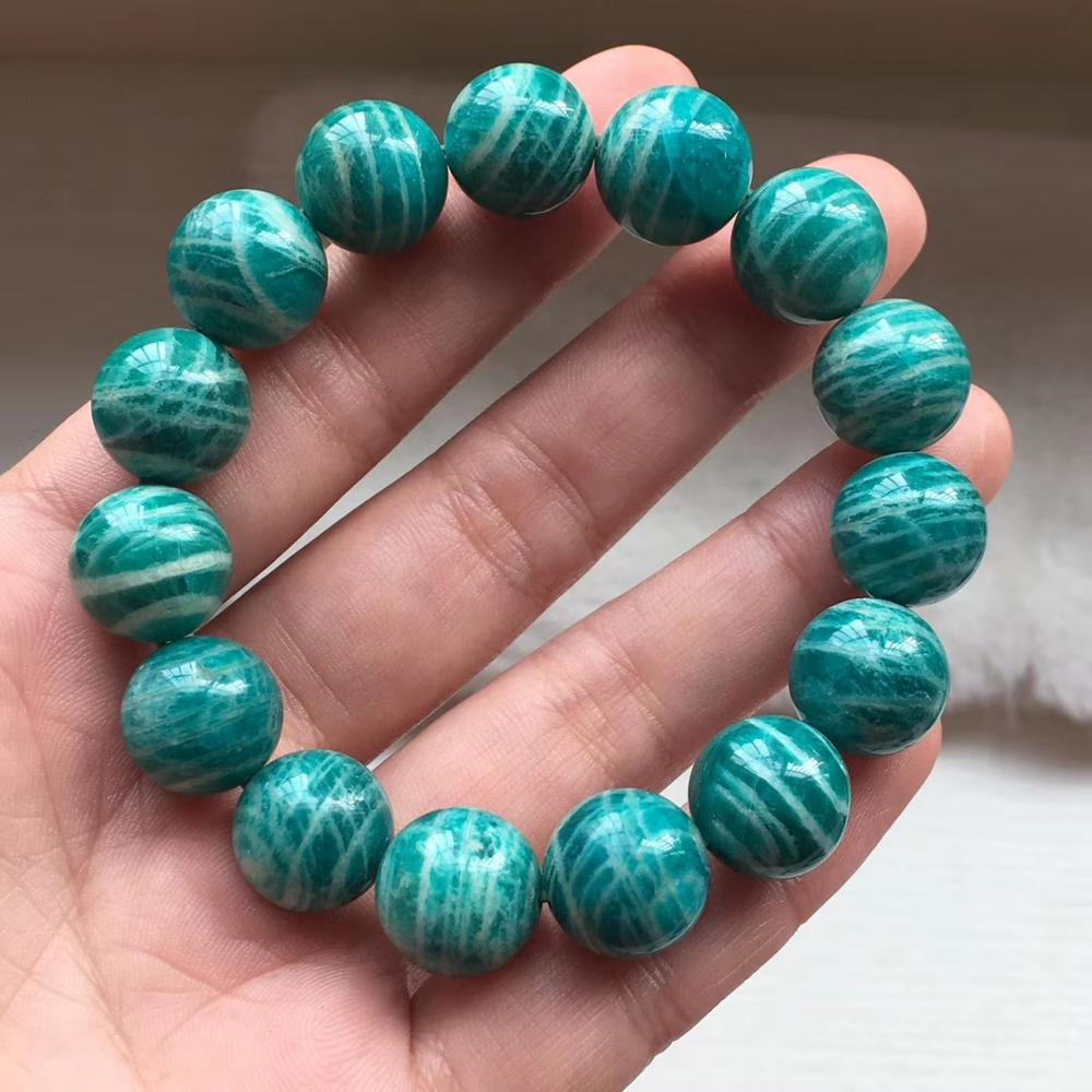 14mm Natural Green Amazonite From Russia Women Men Stretch Healing Round Beads Bracelets Crystal Fashion Best Jewelry AAAA image