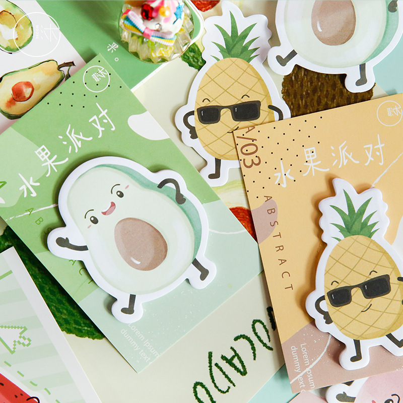 4 Pcs/lot Kawaii Fruit Party N Times Sticky Notes Cute Watermelon Peach Memo Pad School Supplies Decoration Japanese Stationery