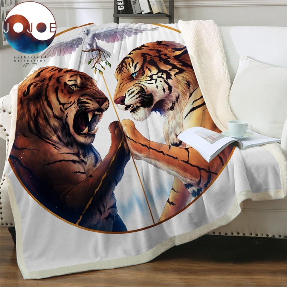 Peace by JoJoesArt Throw Blanket Tigers Printed Bedspreads Sherpa Fleece Beds Blanket Black and White 150x200cm battaniye(China)