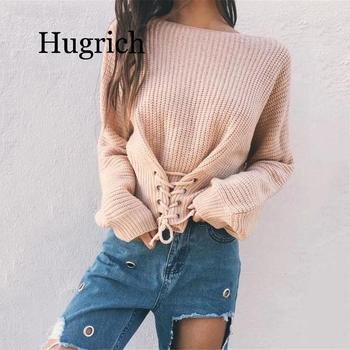 2020 Black Lace Up Knitted Pullover Sweater Women Elastic Long Sleeve Jumper Casual Autumn Winter Knitting Pullovers eyelet lace up staggered jumper
