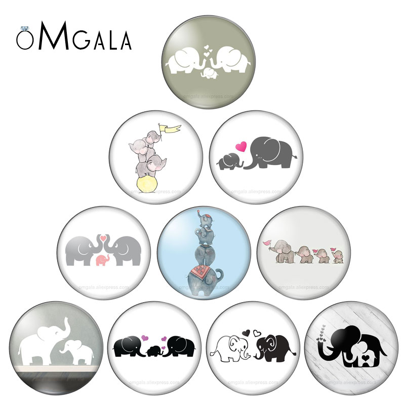 New Cute Family Love Elephants 10pcs 12mm/18mm/20mm/25mm Round Photo Glass Cabochon Demo Flat Back Making Findings