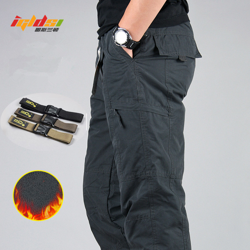 Men's Waterproof Winter Cargo Pants Fleece Thick Warm Pants Double Layer Multi Pocket Casual Military Baggy Tactical Trousers