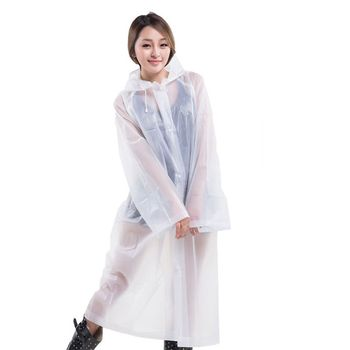 Waterproof Wide Sleeve Rain Poncho Light EVA Long Style Thickened Raincoat Cover K1KD