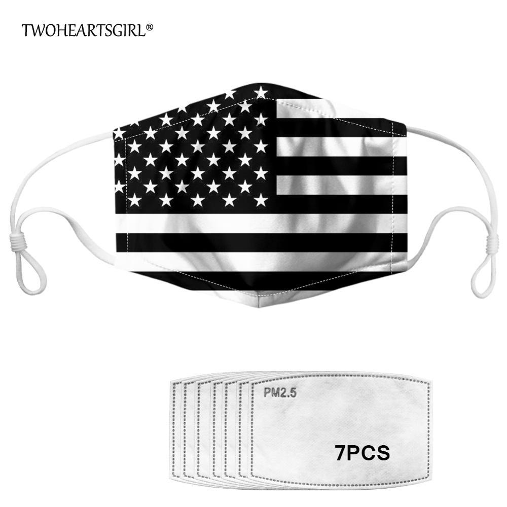 Twoheartsgirl Black And White USA American Flag Face Mask For Adult Men Women Breathable Kids Mouth Mask Anti Haze Mascaras