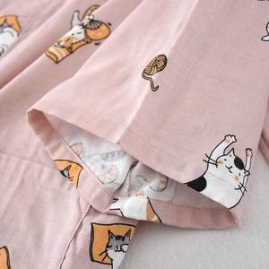 Image 5 - Ladies Spring And Fall New Pyjamas Set Cute Cartoon Kitten Printed Women Comfort Gauze Cotton Sleepwear Soft Thin Home wear