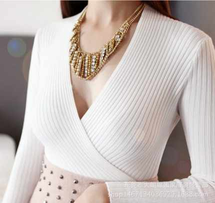 À venda 2019 sexy com decote em v camisola feminina pullovers outono inverno magro sólido manga longa camisola de malha feminina macia camisola
