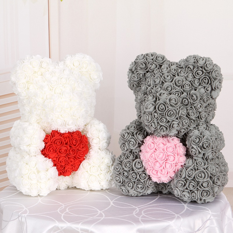 50/100/200 Pieces Teddy Bear of Roses Artificial Flowers For Wedding Decoration Indoor 2