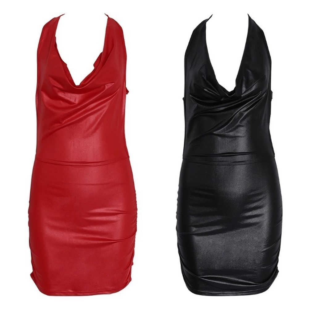 Femmes Sexy noir et rouge Look humide sans manches dos nu Bandage licou Faux cuir moulante robe Mini moulante robe sous-vêtements