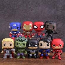 Super Heroes Captain America Iron Man Spiderman Black Panther Thor Hulk Bruce Wayne Superman Flash PVC Figure Toys 9pcs/set