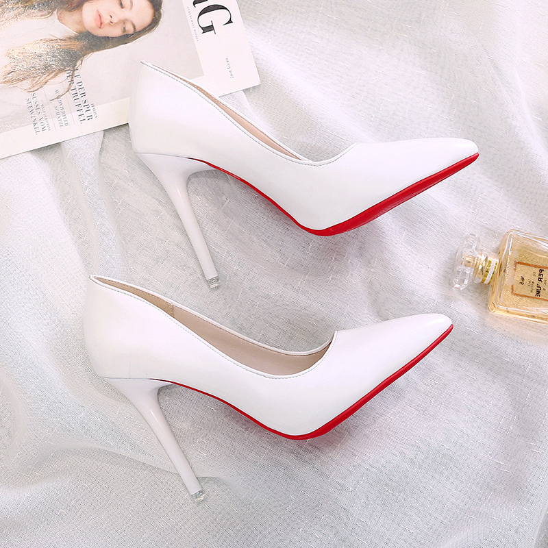 2020 Hot Sell Classic Women Shoes Pointed Toe Pumps Patent Leather Dress high Heels Boat Party Wedding Zapatos Mujer Red Wedding