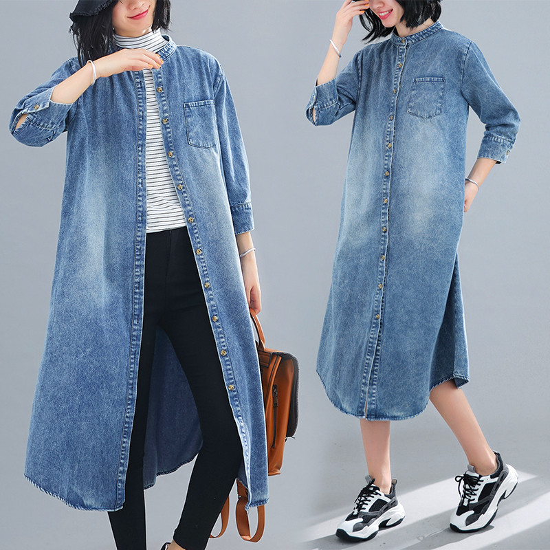 New Spring Autumn Women Trench Casual Loose Plus Size Retro Loose Single Button Long Style Denim Coat For Female Jeans Trench