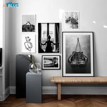 Cartel nórdico Vintage chica guante vinilo registros pared arte lienzo pintura blanco y negro impresión abstracta decoración cuadro Decoración