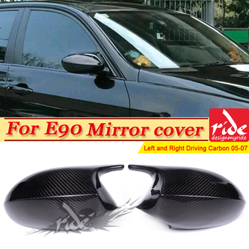 Really Carbon Fiber Mirror Cover Cap Add on Style M3 Look 100% Vacuumed Dry For BMW E90 3 Series Sedan Replacement 2-Pcs 2005-07