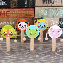Rattle Percussion-Toys Musical-Instrument Wooden Baby Child Kid Gifts Cartoon