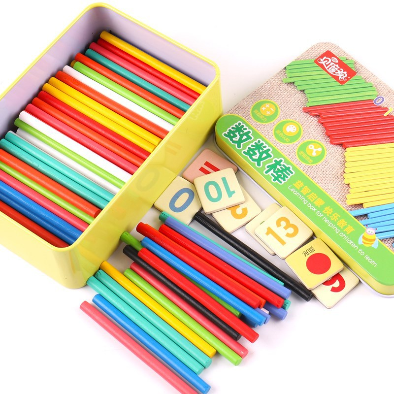 Young STUDENT'S Wood Counting Sticks Mathematics Rod Abacus Toy Mathematics Teaching Aids 1-2 Grade Stick 100 A Packet