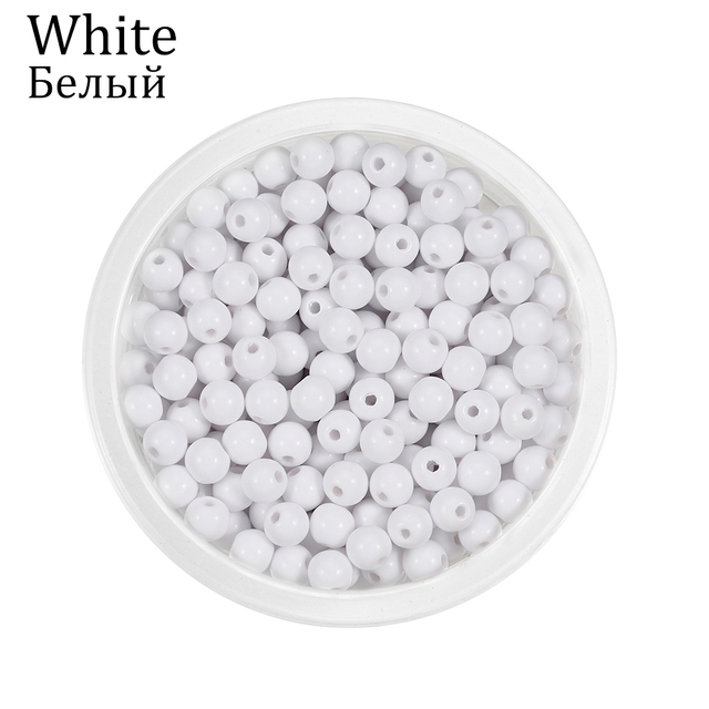 10-200Pcs Round Mixed Acrylic Loose Spacer Beads For DIY Jewelry Making Findings Accessories Supplies Children Gift Bracelet