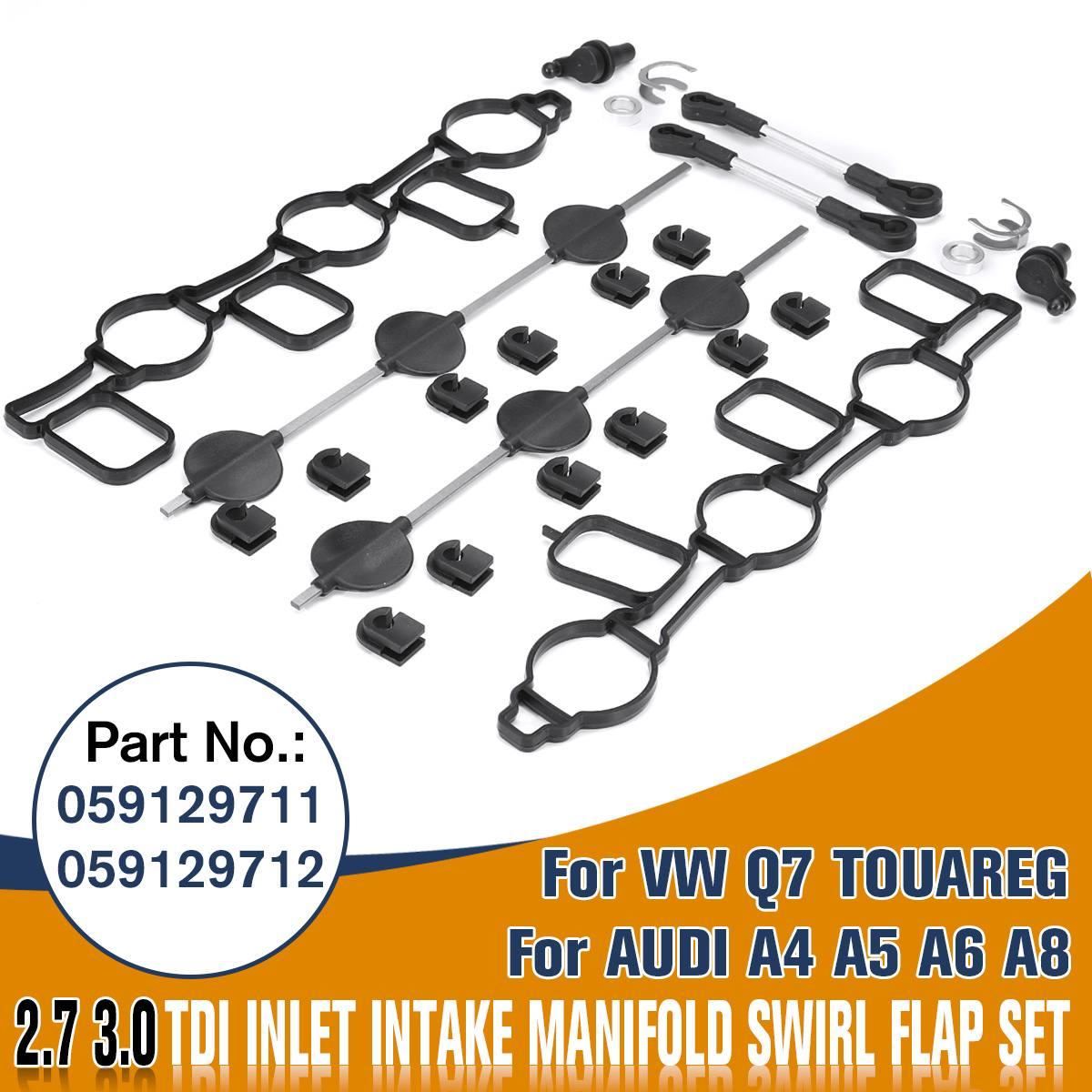 New INTAKE MANIFOLD SWIRL FLAPS 2.7 3.0 TDI GASKET KIT 059129711 & 059129712 For Audi A4 A5 A6 A8 For VW TOUAREG Phaeton