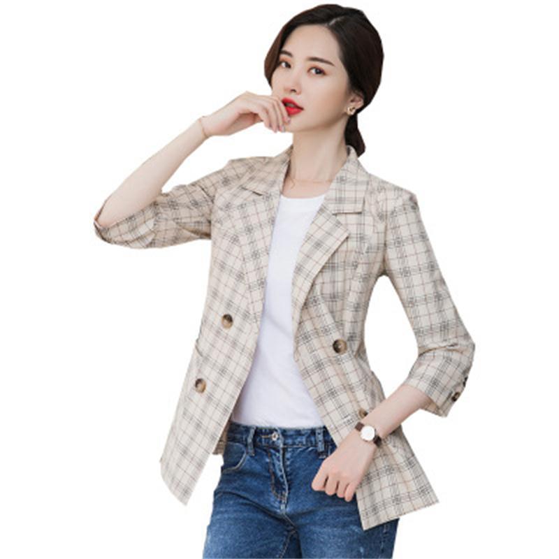 Fashion Plaid Blazers Women Coat Fall New High Quality Plus Size Casual Blazer Women Net Red Stitching Plaid Business Suit Women