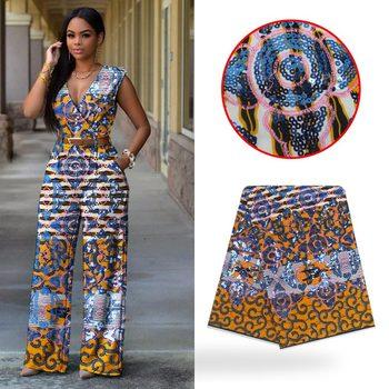 LIULANZHI african wax fabrics 6yards/lot new design ankara wax fabric cotton with sequins wax real fabric ML9HL113-ML9HL126