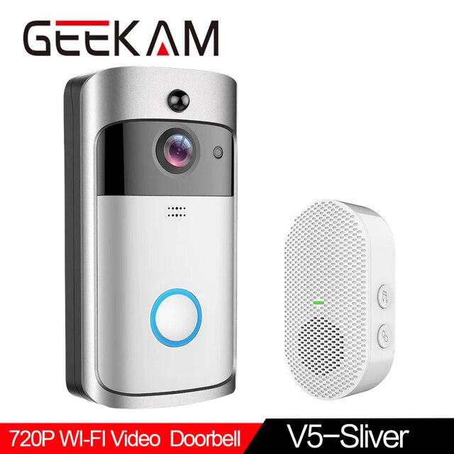 GEEKAM WiFi Video Campanello V5 Smart IP Video Citofono WI FI di Video Telefono Del Portello Per Gli Appartamenti IR di Allarme Senza Fili di Sicurezza Della Macchina Fotografica