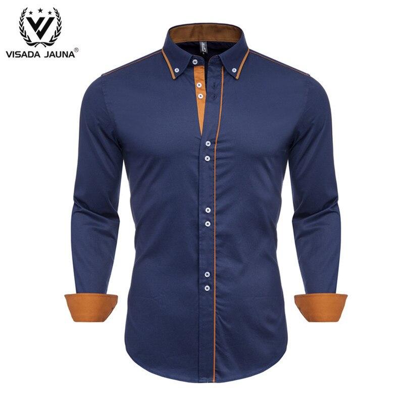 VISADA JUANA Men Shirt 100% Cotton 2019 Spring Autumn Casual Long Sleeve Shirt Soft Comfort Slim Fit Styles Brand Man Plus Size