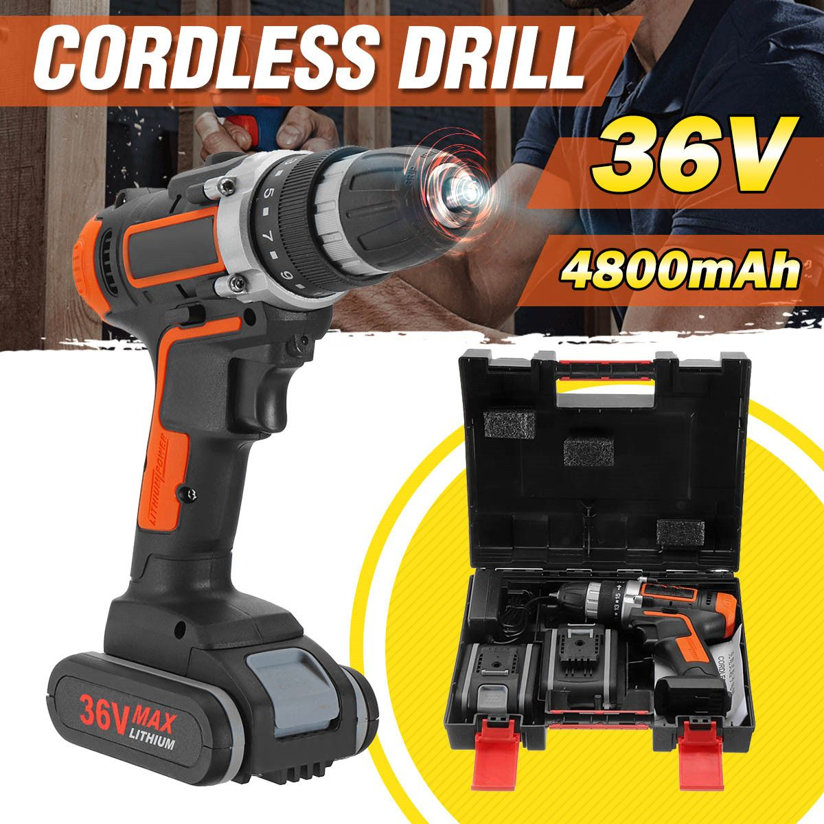 36V Cordless Electric Screwdriver Cordless Drill Power Tools Handheld Drill Lithium Battery Charging Drill 1/2 Battery