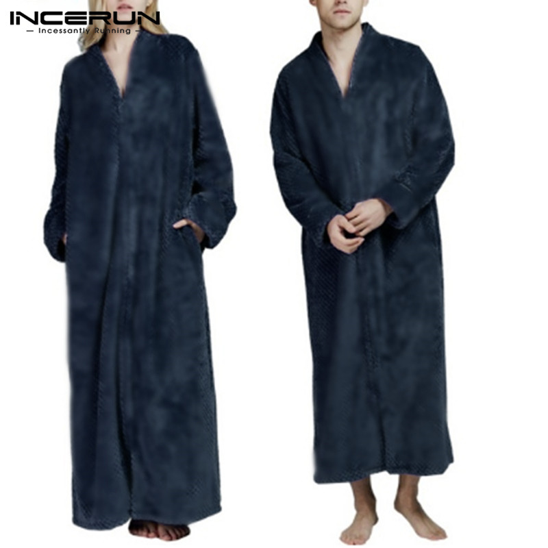 INCERUN Flannel Robes Fashion Men Nightgown Long Sleeve Solid Warm Cozy V Neck Bathrobe Winter Ladies Coral Fleece Dressing Gown