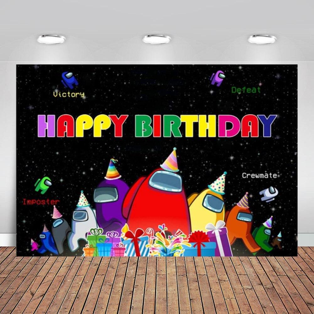 Виниловый фон для детской фотосъемки, Виниловый фон с изображением игры «среди нас» для вечеринки в честь Дня Рождения