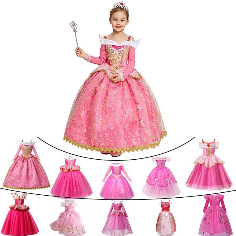 Meninas dormindo beleza aurora vestido mangas compridas fora do ombro rendas robe crianças lindo presente de natal fantasia princesa festa roupas Vestidos    -