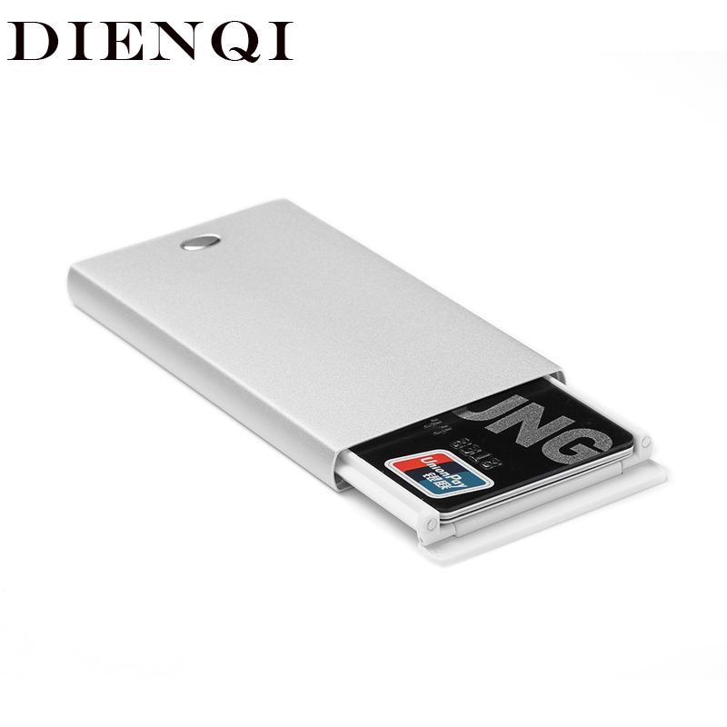 DIENQI Thin Wallet Card-Holder Smart Purse Pull-Out Rfid Metal Slim Vintage Magicl White title=