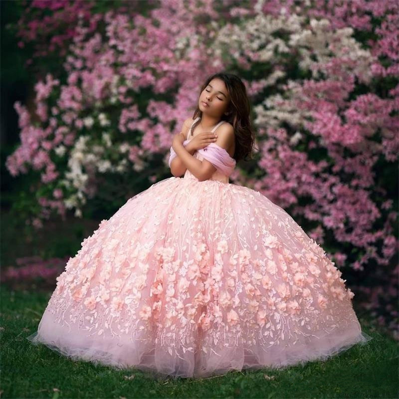 Pink 2020 Ball Gown Flower Girl Dresses For Wedding Luxury Off The Shoulder 3D Floral Appliqued Toddler Pageant Gowns Tulle Kids