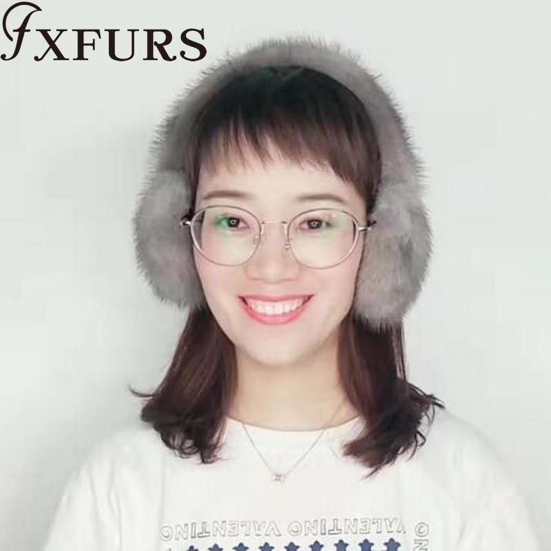 2019 New 100% Whole Mink Fur Earmuffs Winter Women Warm Plush Big Fox Fur Ear Muff Girls Russia Soft With Real Mink Fur Earflap