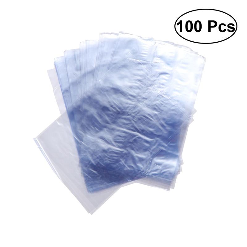 100 PCS PVC Shrink Wrap Bags For Soaps Bottles Bath Bombs Packaging Gift Baskets (10 X 15cm)