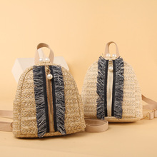 купить Mini Backpack Fashion Women Straw Backpack Travel Shoulder Bag Girls Ladies Rattan Rucksack School Small Backpack Shoulder Bag дешево