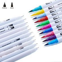 Rotuladores artísticos de doble pincel de 120 colores, delineador de punta fina para acuarela, dibujo, pintura, caligrafía, letras, suministros de arte, Manga
