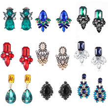 Classical Jewelry Big Crystal Stud Earrings Women Flower Vintage Earrings Dazling Indian Jewellry Wedding Party Gifts(China)