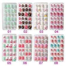 24 шт/лот конфетные накладные ногти надавливающие на детей Мультяшные