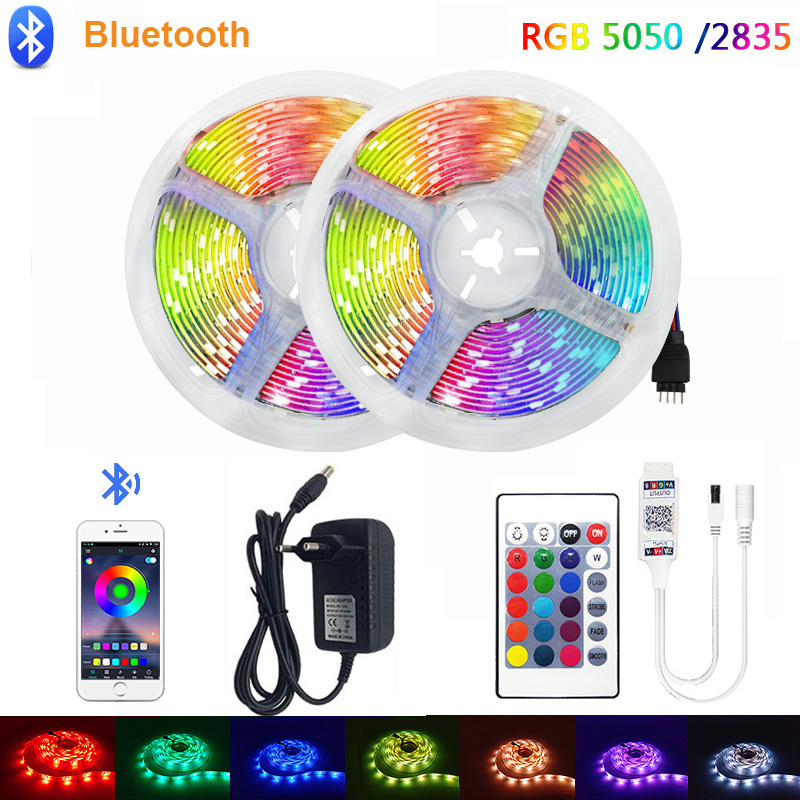 5m 10m 15m Waterproof LED RGBW RGBWW RGB Strip Light SMD 5050 Light Bluetooth Control Adapter RGB Fita Ribbon Lamp Led Strip Set
