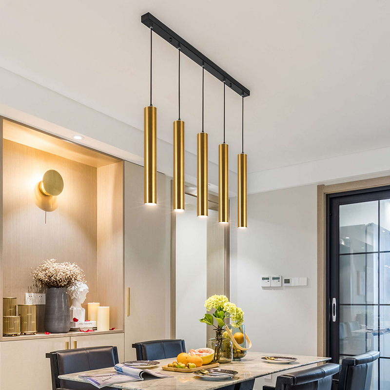 Mordern Simplicity Hanging Wire Led Down Light Restaurant Front Desk Bar Spotlight Long Cylindrical Chandelier Single Lantern