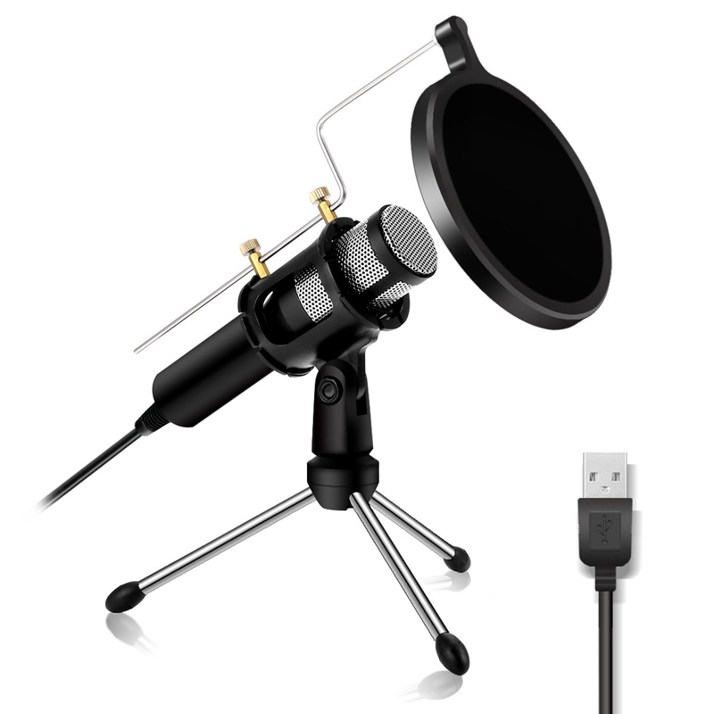 Condenser Microphone Computer Microphone Plug And Play Family Studio Microphone Recording Microphone Over Usb Plug Dual-Layer