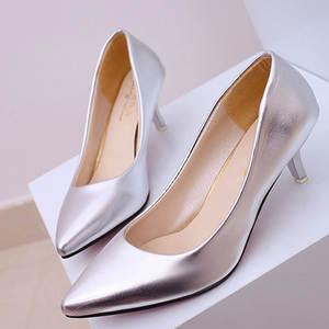 Shoes Women Low-Heels Professional Black Ladies Patent White Shallow Four-Seasons