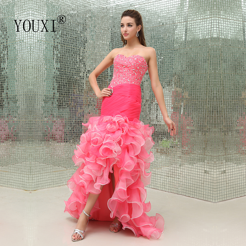 Sexy Sweetheart High Low Prom Dress 2020 New Organza Beaded Crystal Tiered Fuchsai Vestidos De Fiesta Largos Elegantes De Gala