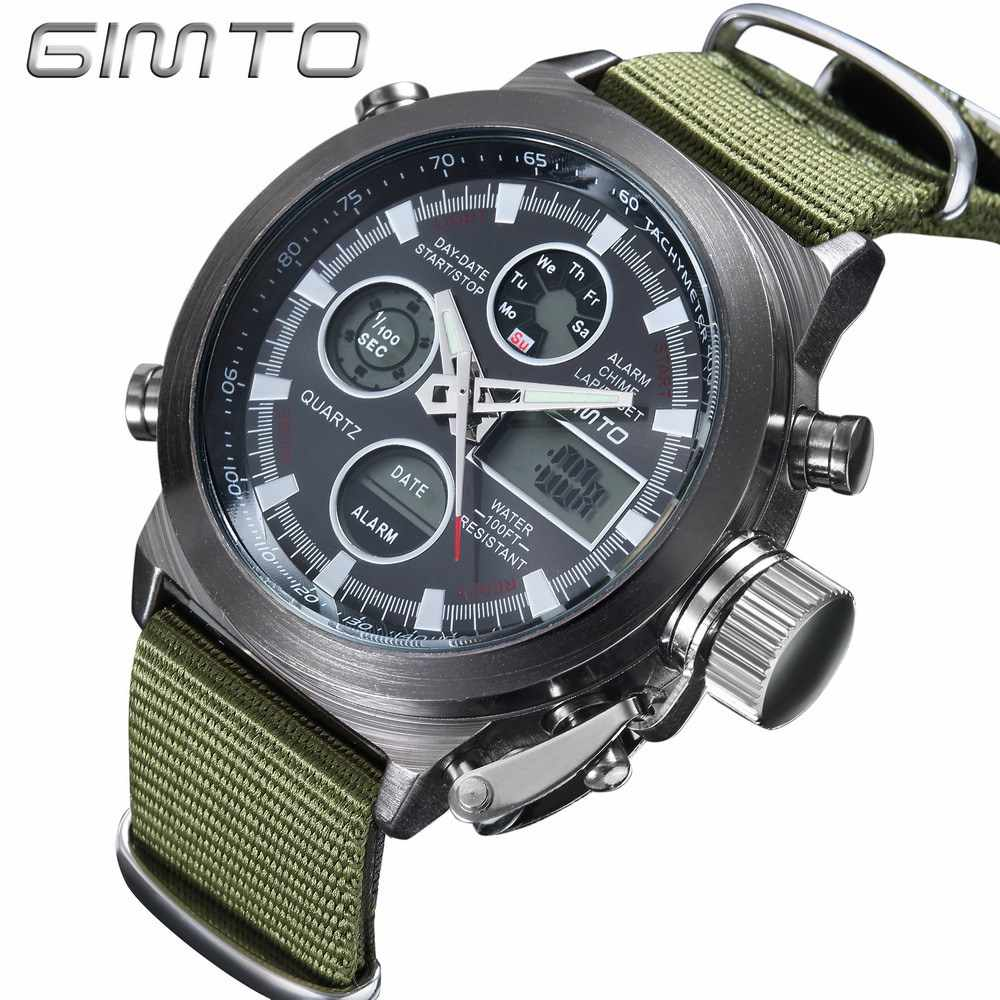 GIMTO Men Watch Digital LED Military Army Watch Multifunction Waterproof Diving Leather Nylon Belt Male Casual Quartz Clock