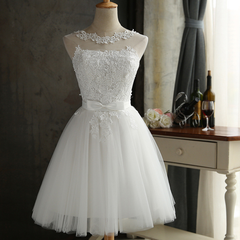Women's Evening Dress Lace Embroidery Short Prom Dress Solid Color O Neck White Grey Sleeveless Formal Dress Ceremony Dress