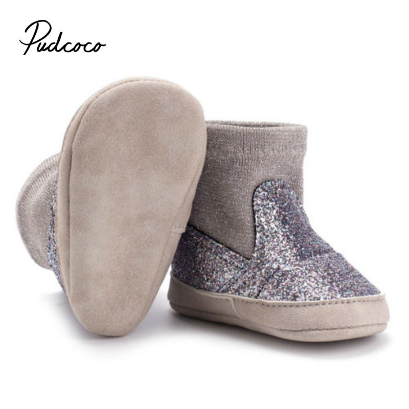 2019 Brand New Newborn Baby Boys Girls Soft Silver Shiny Shoes Warm Boots Anti-slip Sneaker Breathable Solid First Walkers 0-18M