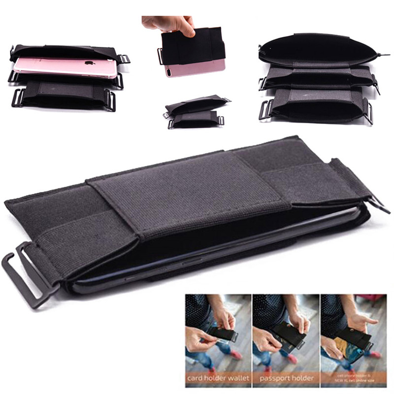 Fashion Minimalist Invisible Wallet Unisex Waist Bag Mini Pouch Safe For Key Card Phone Outdoor Sport Waist Packs Black