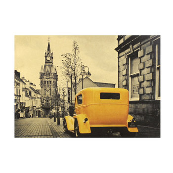 Yellow classic car creative nostalgic retro kraft paper poster bar cafe home decoration painting wall stickers image