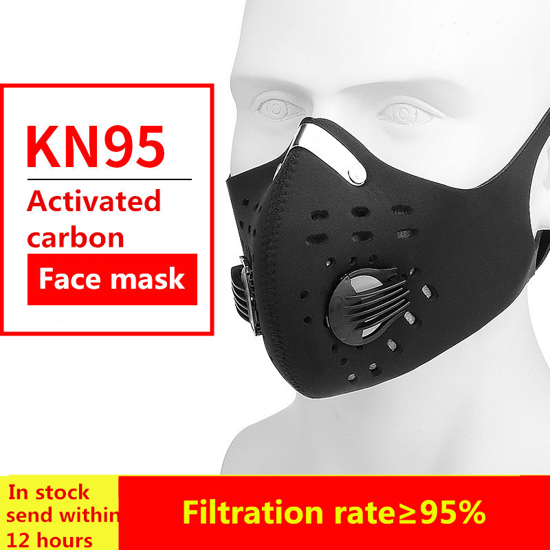 Men And Women Black Kn95 Face Mask Activated Carbon Anti-virus Facemask Outdoor Bike Training Half Face Masks Fashion