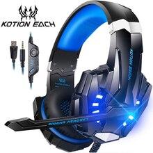KOTION CADA Gaming Headset Jogo Headphone Casque Stereo Graves Profundos com Microfone LED Light para Laptop Telefone PC Gamer PS4
